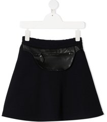 lanvin enfant belt pouch flared skirt - blue