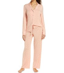 women's nordstrom lingerie moonlight pajamas, size x-small - coral