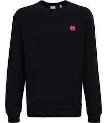 aspesi black cotton hoodie with patch detail