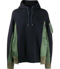 sacai panelled hoodie - blue