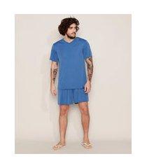 pijama masculino d'noite manga curta azul