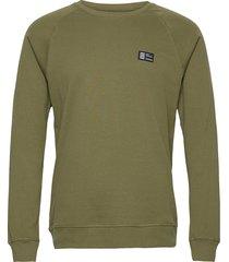 cotton rib stelt badge sweat-shirt trui groen mads nørgaard