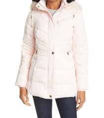 women's ted baker london maliiva quilted faux fur trim parka, size 5 - pink