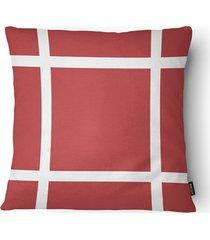 almofada decorativa serenity 100 50x50cm bege e vermelha