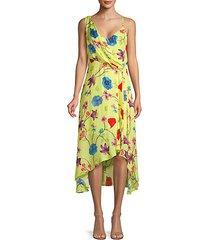 floral silk blend a-line dress
