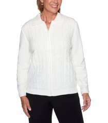 alfred dunner petite zippered chenille cardigan