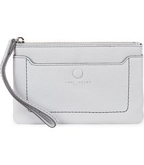 logo leather wristlet