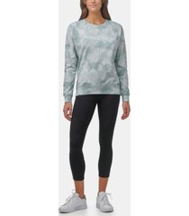 marc new york performance women's tie dye french terry high-low pullover top