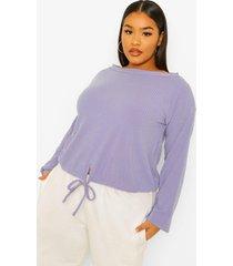 plus zachte geribbeld t-shirt met strik en open schouders, indigo