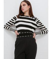motivi maglia a righe con maniche arricciate donna nero