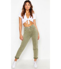 high waist distressed rigid mom jeans, khaki