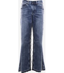 maison margiela faded effect cotton jeans with frayed edges