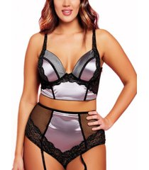 women's fleur plus size metallic bra and panty set with removable garter, 2 piece