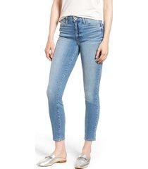 women's paige hoxton distressed ankle jeans, size 24 - blue