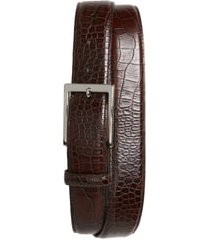 men's big & tall torino gator grain embossed leather belt, size 46 - brown