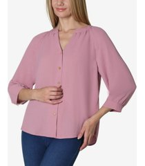 3/4 sleeve solid shirred neck button front blouse