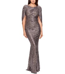 betsy & adam sequined draped-back gown
