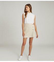 reiss june - boucle mini skirt in cream, womens, size 14
