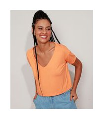 camiseta feminina básica cropped manga curta decote v laranja