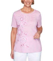 alfred dunner petal pushers embroidered knit top