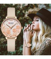 reloj curren dama correa piel análogo floreado moda