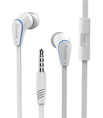 audífonos, jm-12 deportivos 3.5mm enchufe auriculares manos libres estéreo con micrófono y cable plano de 1,2 m para sony iphone samsung (blanco)
