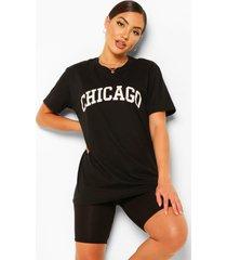 chicago slogan oversized t-shirt, black