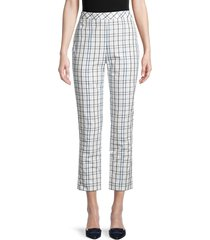 carolina herrera women's geometric straight-leg ankle pants - white multi - size 10