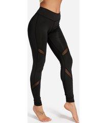 leggings de cintura alta de secado rápido con costura de hilo de red activa en negro