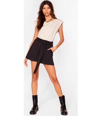 womens tie can't get enough belted relaxed shorts - black
