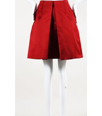 carven red pleated short skirt red sz: s