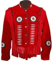 new men western wear red scully simple suede jacket fringe bone bead