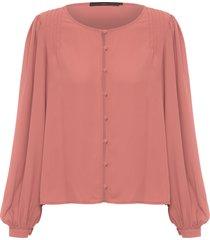 camisa feminina chiffon nervuras ombro - rosa