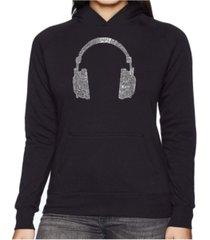la pop art women's word art hooded sweatshirt -63 different genres of music