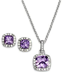 """amethyst (2-1/3 ct. t.w.) & diamond accent sterling silver 18"""" pendant necklace and stud earrings set."""