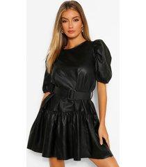 loshangende pu jurk met losvallende zoom en ceintuur, black