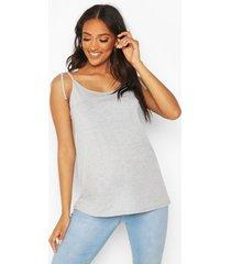 zwangerschaps borstvoeding hemdje met schouderstrikjes, grey marl