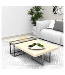 mesa centro tubular preto madeirado claro mdf lilies móveis