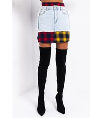 akira marianna plaid detail denim mini skirt