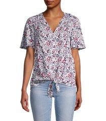 adella floral tie-front shirt