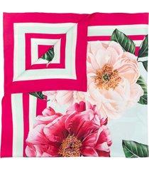 dolce & gabbana camellia-print silk-twill scarf - pink
