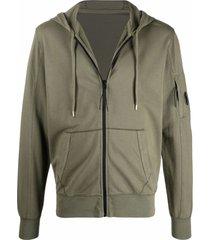 c.p. company green lightweight cotton fleece hoodie