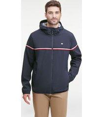 tommy hilfiger men's essential signature stripe rain jacket navy - xl