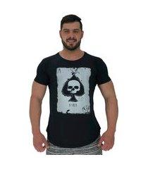 camiseta longline alto conceito dark skull preto