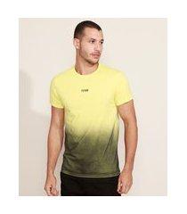 "camiseta masculina slim future"" com degradê manga curta gola careca amarela"""