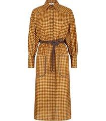 fendi vichy midi shirt dress - brown
