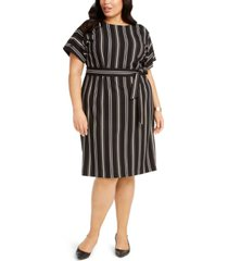 alfani plus size striped tie-waist dress, created for macy's