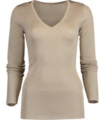 long sleeve lurex v-neck knit top