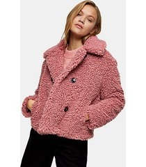 blush pink cropped borg coat - blush