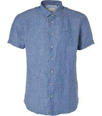 no excess shirt, s/sl, 2 col yarn dyed linen indigo blue